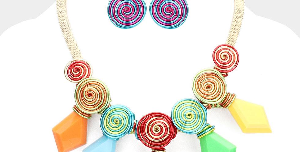 muliti colored wired necklace
