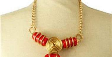 red wire stone necklace set