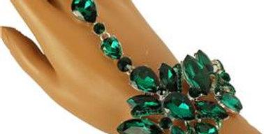 Green gem finger ring bracelet