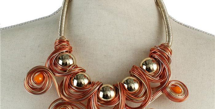 Orange and gold wire necklace