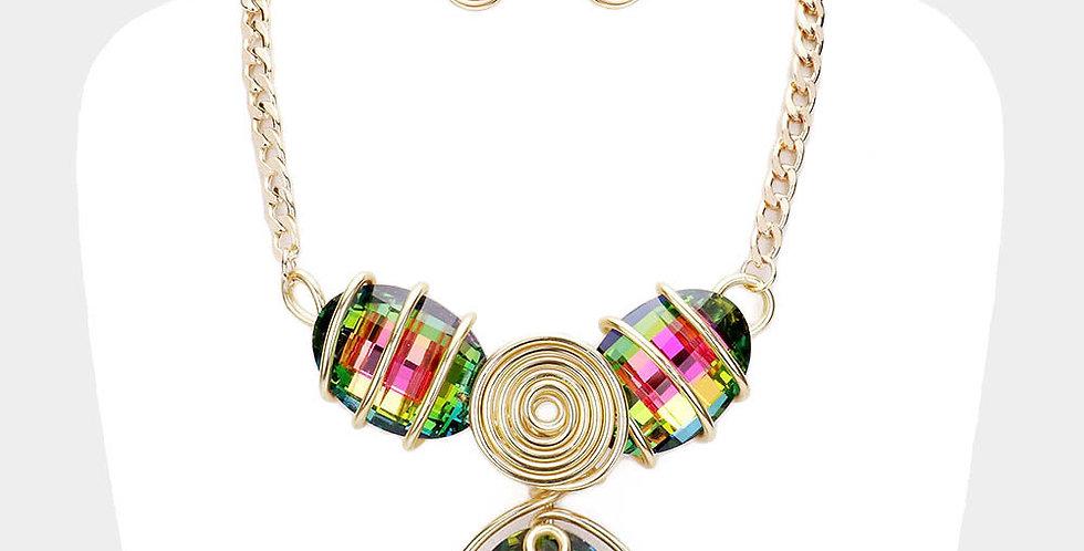 Green and Pink gold Gem Necklace set