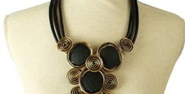black stone drop wire necklace set