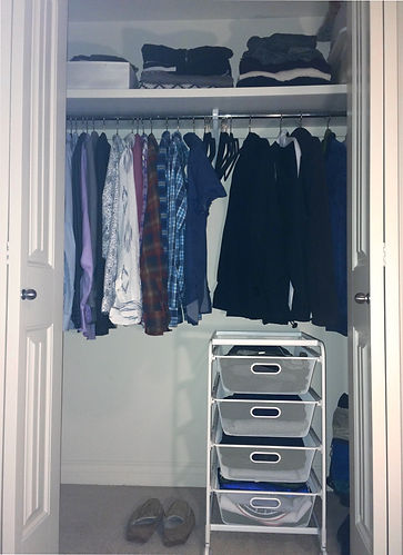 Small Clothes Closet After Organization.