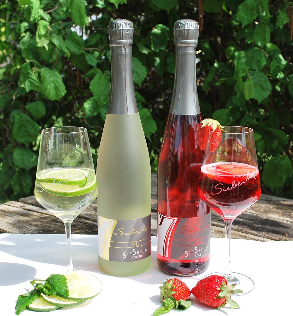 SieSecco Perlwein weiß trocken Rosé mild perlender Trinkgenuss Weingut Siebenhof Zotzenheim