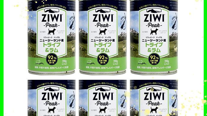 ziwi peak ジウィピークドッグ缶 トライプ&ラム 390g ご褒美6缶セット