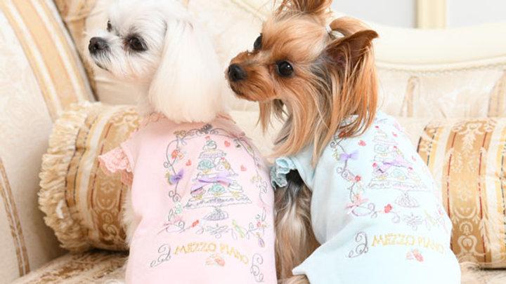 メゾピアノケーキ刺繍トレーナーLサイズ(ピンク、ブルーセット商品)