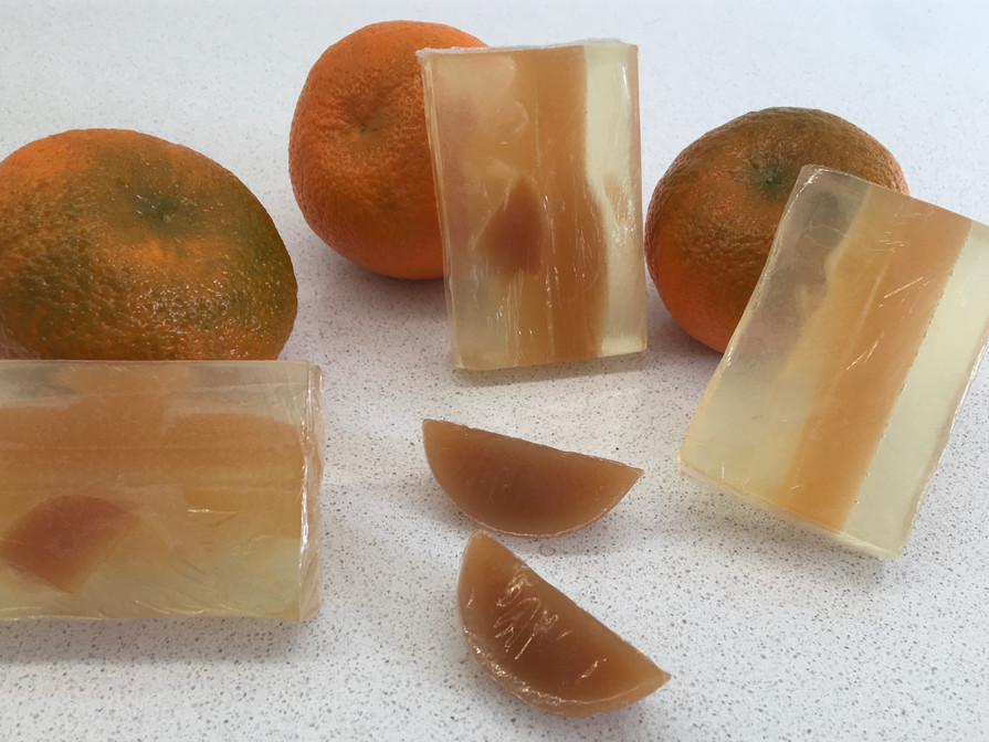 Showing the real oranges used in the Orange Five Fold Soap.