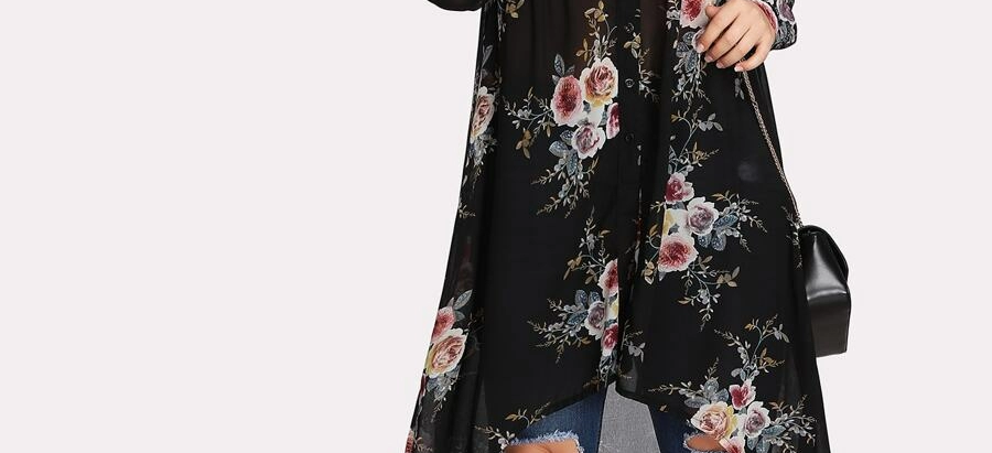 Floral Print Dip Hem Blouse