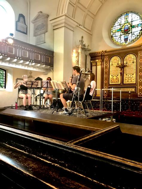 The Caeli Quintet rehearses 'Return'