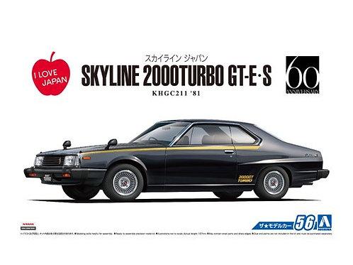 Aoshima Model Car No.56 1/24 Nissan Skyline 2000Turbo GT-E/S KHGC211 '81