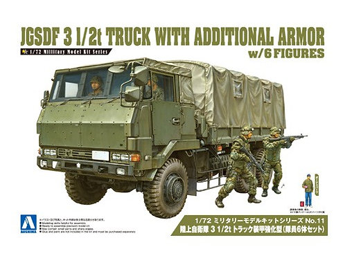 Aoshima Military Model 1/72 JGSDF 3 1/2t Truck w Additional Armor [w/6 Figure]