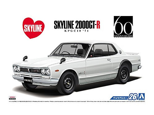 "Aoshima Model Car No.26 1/24 Nissan Skyline 2000GT-R KPGC10 ""71"