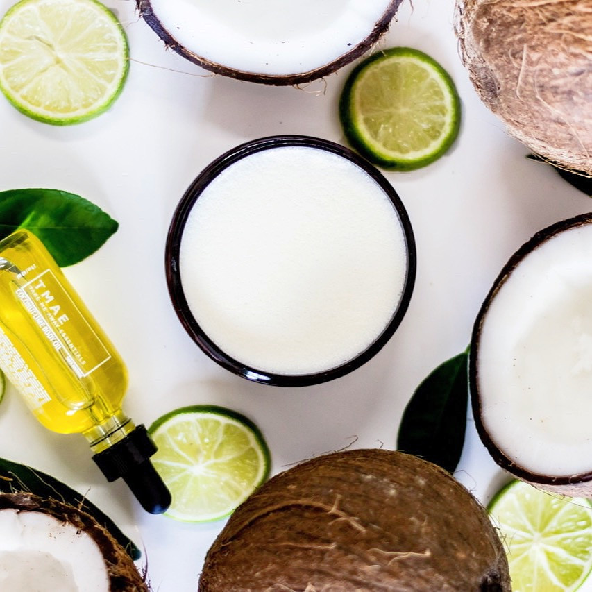 Coconut-lime body oil and body butter