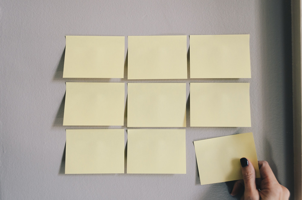 Sticky notes for brainstorming content