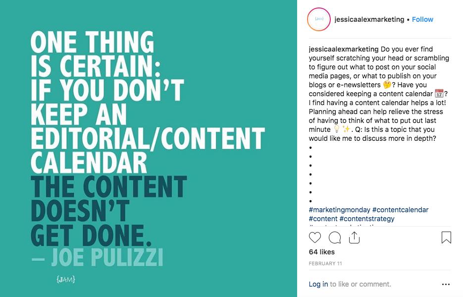 Create a content calendar quote