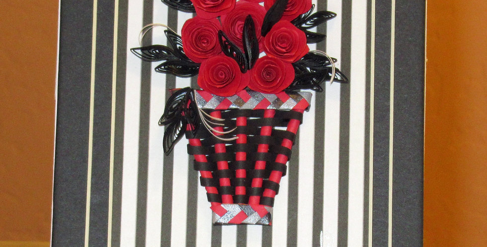 Basket of Swirling Roses (Stripes)
