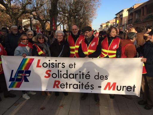 Le jeudi 5 décembre 2019 : manifestation à Muret