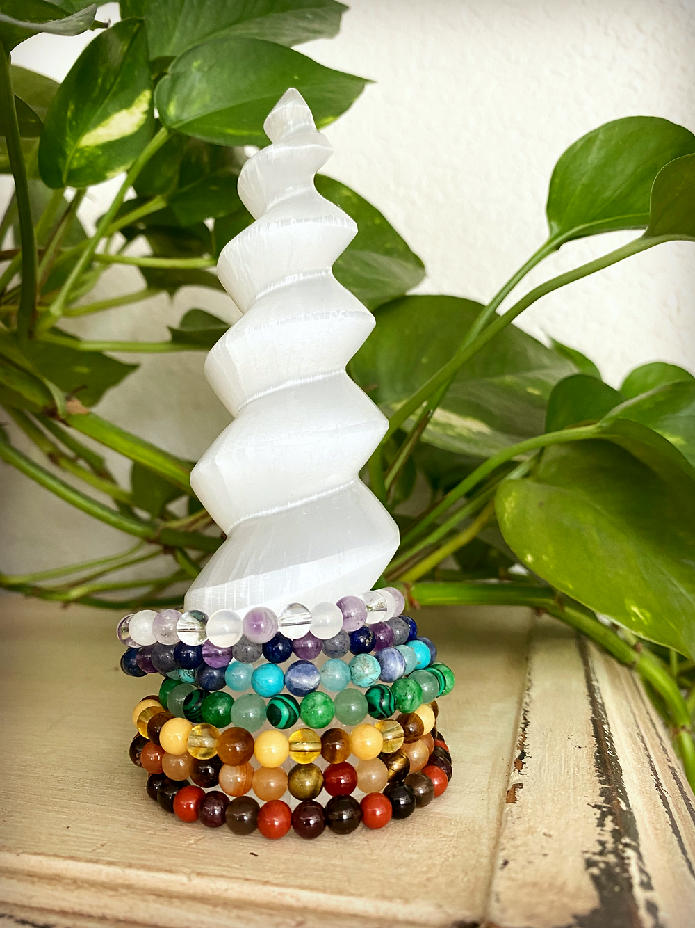 Clear your jewelry with Selenite (click to view in our shop)