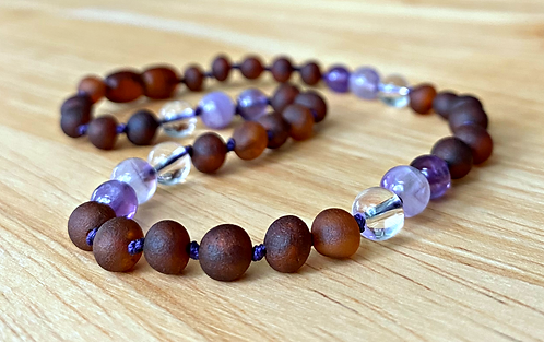 Lavender Latte : Unpolished Kid's Baltic Amber Necklace