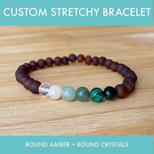 CUSTOM Amber & Crystal Stretchy Bracelet