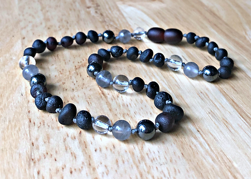 Silver Lining : Baltic Amber Teething Necklace + Protection & Grounding