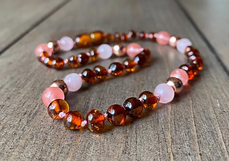 Sunrise : Polished Baltic Amber Teething Necklace
