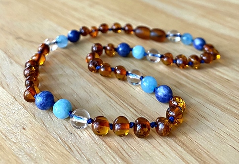 True Blue : Baltic Amber Teething Necklace