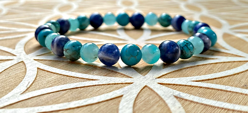 "7"" Throat Chakra Stretchy Bracelet"
