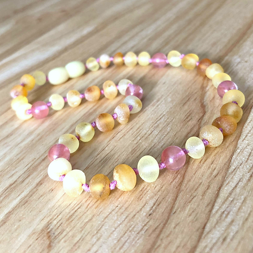 Strawberries & Cream : Unpolished Baltic Amber Teething Necklace