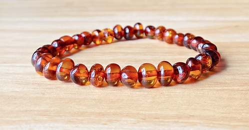 Polished Cognac Baltic Amber Bracelet