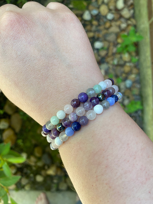 CUSTOM : ROUND Gemstone Stretchy Stacker Bracelet