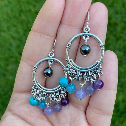 CUSTOM : Chandelier Earrings with ROUND Gemstones