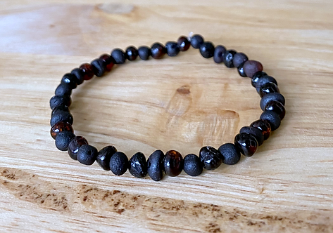 Dark Matter : Baltic Amber Rounds Anklet