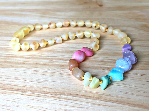 Fruity Pebbles : Baltic Amber Teething Necklace