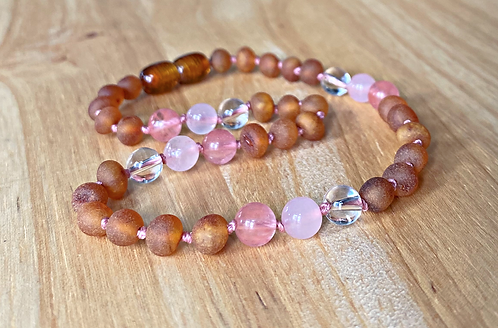 Raspberry Truffle : Unpolished Kid's Baltic Amber Necklace