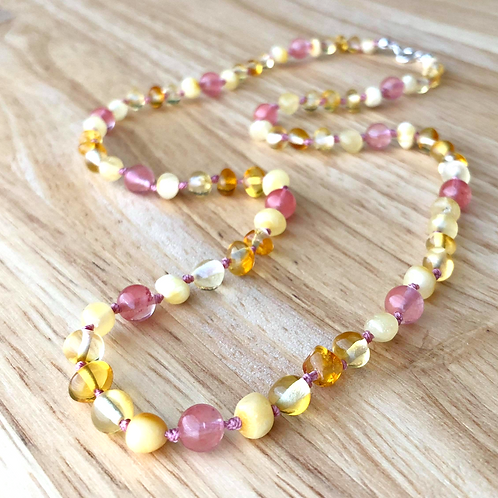Strawberries & Cream : Baltic Amber Adult Necklace