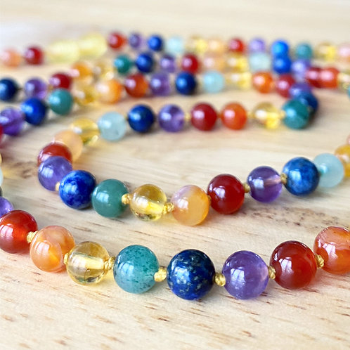 CUSTOM Adult Sized ROUND Amber and/or ROUND Gemstone Necklace