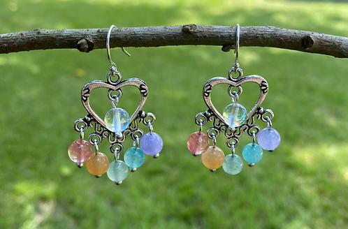 Heart Earrings with Pastel Rainbow & Holographic Aura Quartz