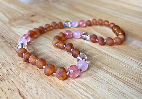 Raspberry Truffle : Baltic Amber Teething Necklace