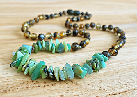 Grassroots : Adult Baltic Amber Necklace with Chrysoprase