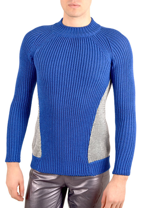 Blue and Silver Knitwear Sweater