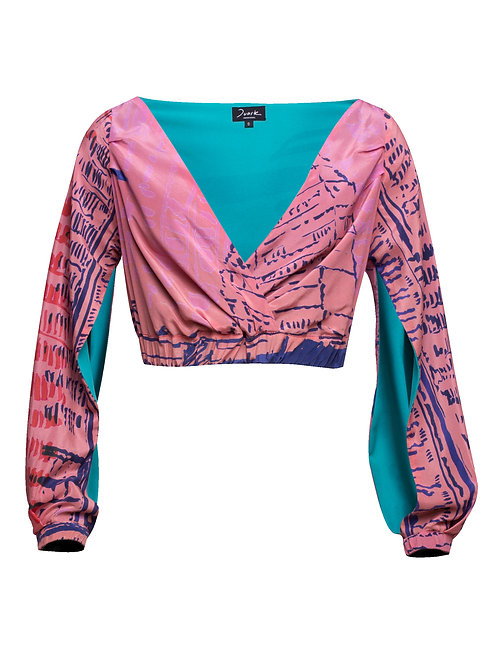 Silk Crossed Long-Sleeve