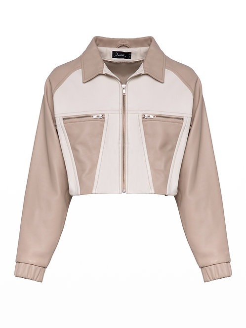 Boned Short Leather Jacket