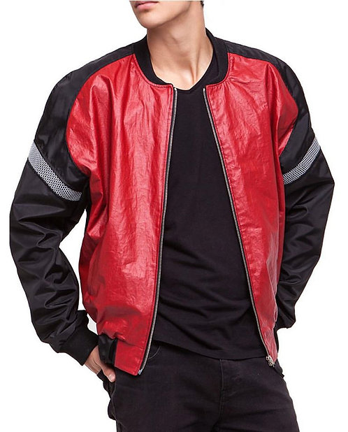 Red Coated Linen and Nylon Bomber Jacket