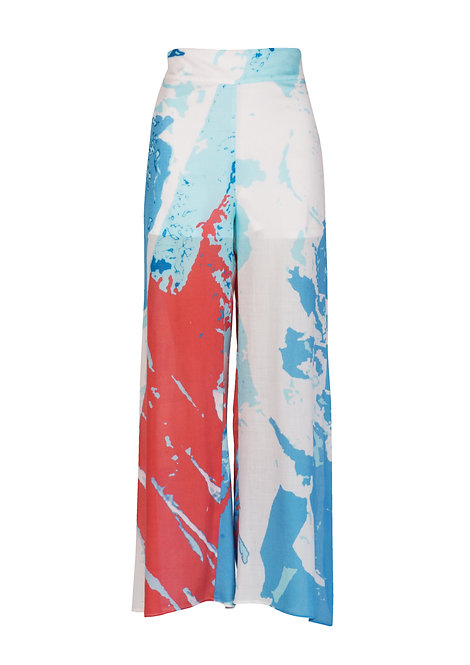 Large Printed Wool Trousers