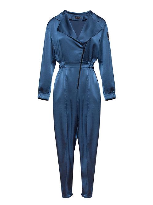 Blue Silky Pilot Jumpsuit
