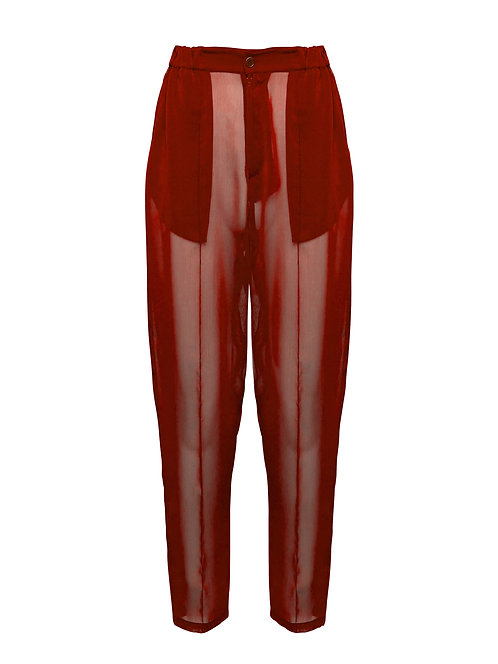 Red Organza Pilot Trousers