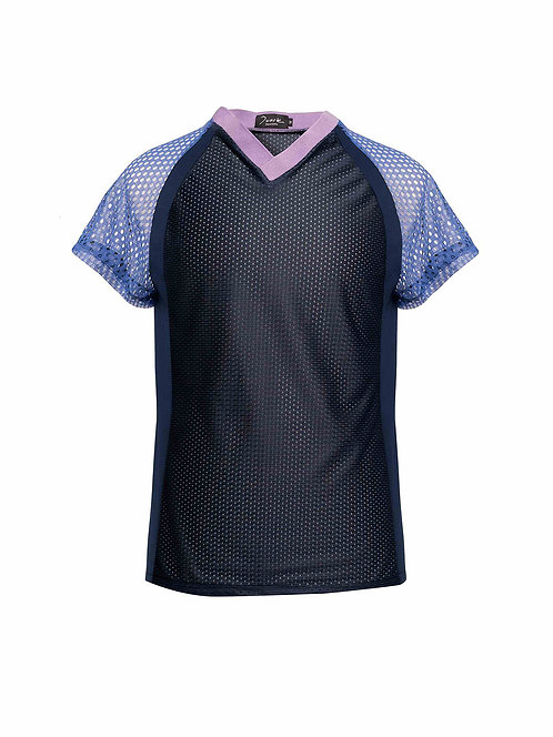 V-Neck Raglan Panel T-shirt Multicolored