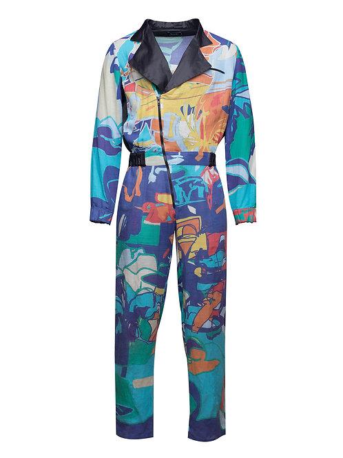 Printed Linen Pilot Jumpsuit