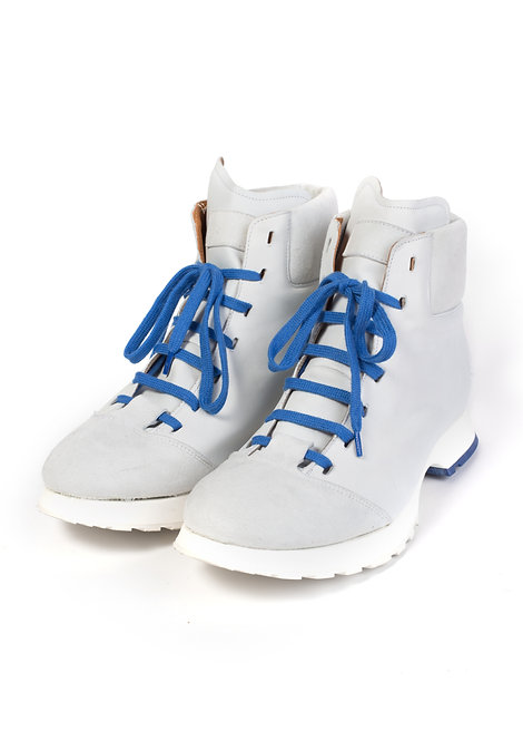 White/Blue Leather Boots